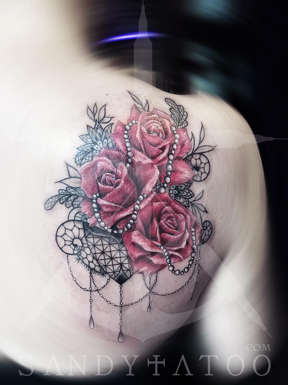 Tatouage Rose Et Dentelle Sandytatoo