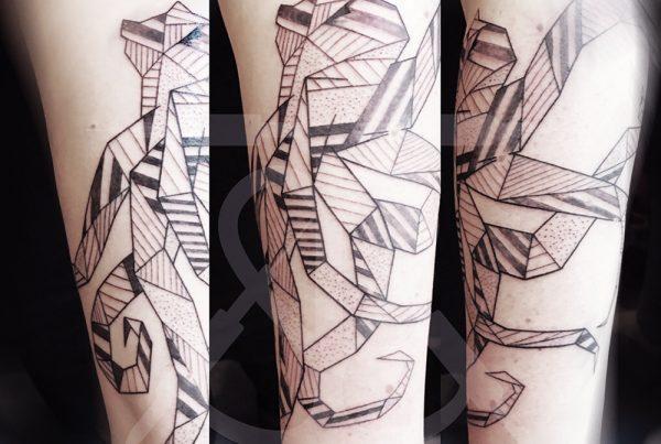 Tatouage Kraken Origami