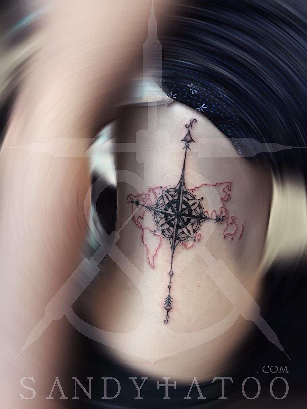Tatouage Rose Des Vents Sandytatoo